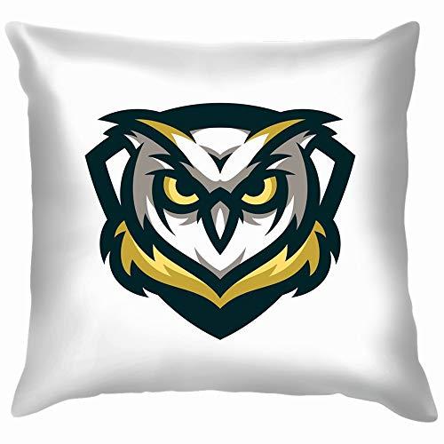 beautiful& Owl Icon Mascot Animals Wildlife Soft Cotton Linen Cushion Cover Pillowcases Throw Pillow Decor Pillow Case Home Decor 18X18 Inch (Midnight Pc Club)