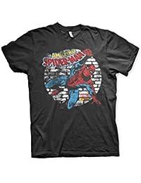 Officiellement Marchandises Sous Licence Marvel Comics Distressed Spider-Man 3XL,4XL,5XL Hommes T-Shirt (Noir)