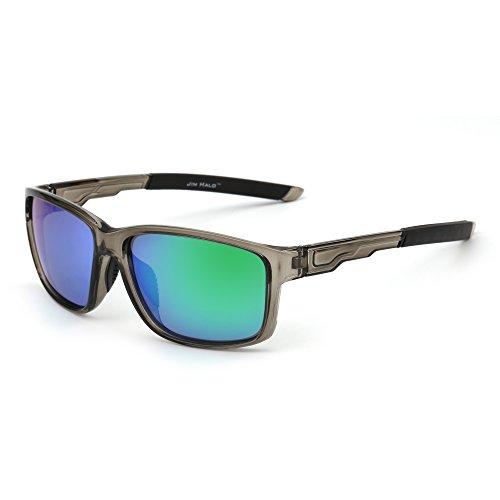 JIM HALO Polarisiert Sport Sonnenbrille Spiegel Wrap Around Fahren Angeln Damen Herren(Grau/Grün)