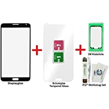 iTG® PREMIUM Juego de reparación de cristal de pantalla para Samsung Galaxy Note 3 Negro (Jet Black) - Panel táctil frontal oleofóbico para N9000 N9005 LTE + Protector en vidrio templado, 3M Adhesivo precortado y iTG® Juego de herramientas