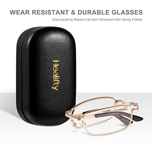 HEALIFTY Lesebrille - 1.5 Lesehilfen Brillen Sehhilfen Vergrößerungshilfen Faltbare presbyopische Brille Lesebrille Eyewear mit schützendem Taschenetui