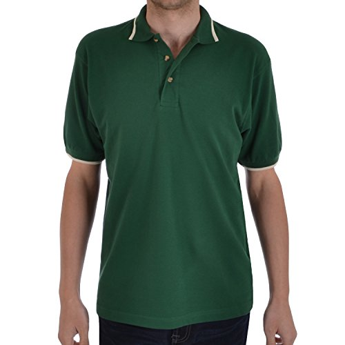 Hanes - Herren Poloshirt mit Kontrastsaum - kurzärmlig - Baumwolle - einfarbig Grün