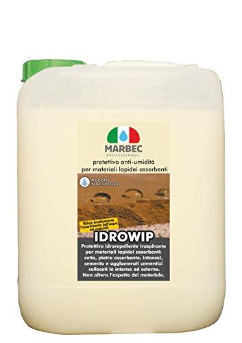 Marbec - IDROWIP 5L | Protettivo per Il Trattamento Anti-umidità dei Materiali lapidei: Cotto, Mattone, Pietra Naturale ad Elevato Assorbimento, intonaco, in Interno ed Esterno.