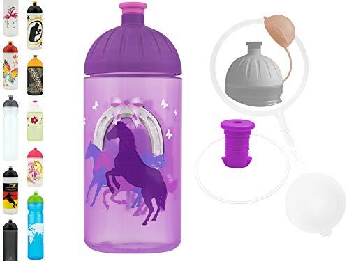 FreeWater Trinkflasche, 500ml, Pferde: schadstofffrei, kohlensäuredicht, spülmaschinengeeignet, langlebig