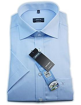 ETERNA Herren Kurzarm Hemd Comfort Fit blau mit Patch 8261.10.K147 (49)