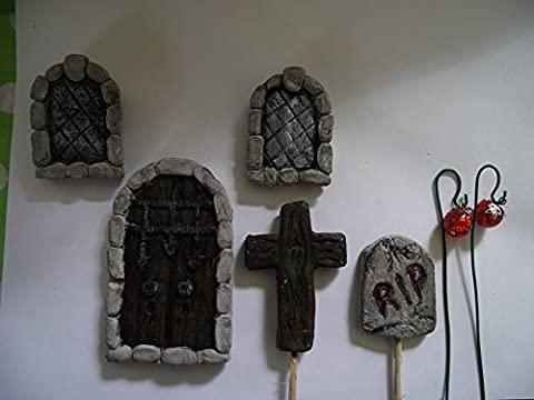 Hand Made Spooky Halloween Fairy Door Kit with Stone Devil Door, Arched Fairy Windows and Grave