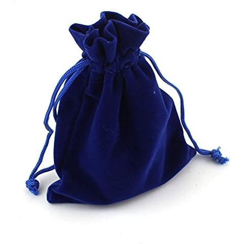 Tinksky 9 * 12cm terciopelo lazo regalo bolsas dulces bolsas bolsa de la joyería para la boda fiesta Favor 10pcs (azul oscuro)
