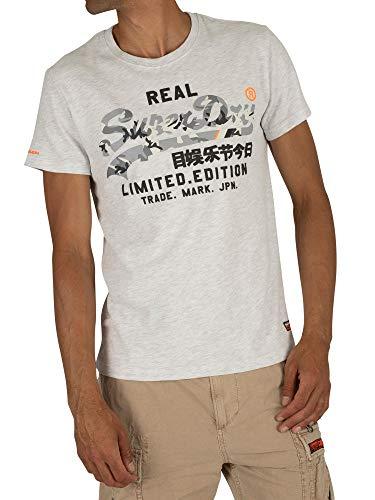 Superdry T-Shirt Herren Vintage Logo FERO Tee Ice Marl, Größe:L - Herren-vintage-tee