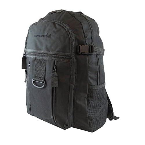 Mens Boys Backpack Rucksack Sports Work Gym School Travel Hiking Man Bag Pockets (Black/Black)