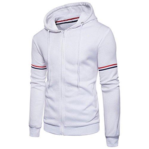 Hoodie Mantel Männer Herren Herbst Winter Dekorative Ribbon Kragen Jacke GreatestPAK,Weiß,XL (Mann Dye Classic Tie)