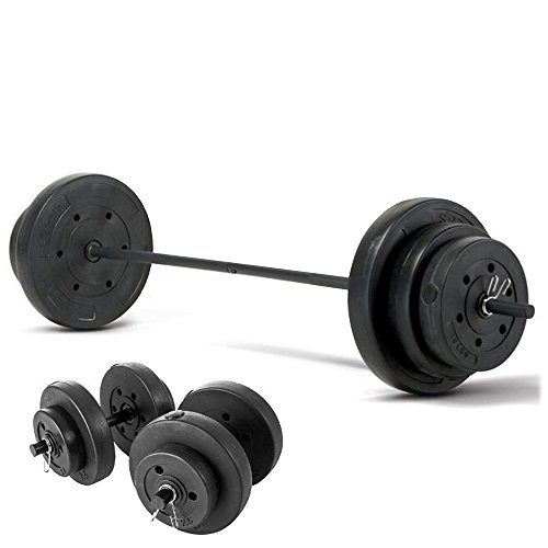marcy-50kg-vinyl-weight-set-with-straight-barbell-dumbells