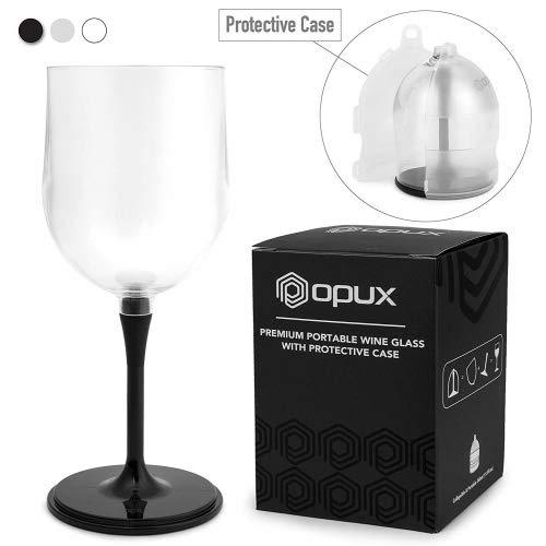 Premium Tragbare Wein Glas von opux | unzerbrechlich, zusammenklappbar, BPA-frei, Spülmaschinenfest | ideal für Camping, Picknicks, Outdoor und Innenbereich With Protective Case schwarz