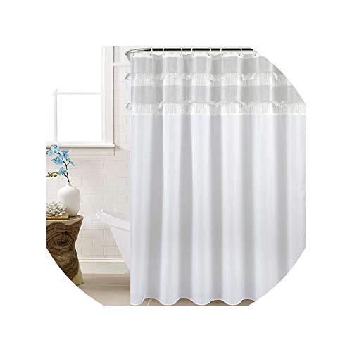 HIGHER-LOVE Neuer Typ Joint-Duschvorhang mit Quaste wasserdichter Duschvorhang Hochzeitsdekoration,Weiß,180X210Cm -