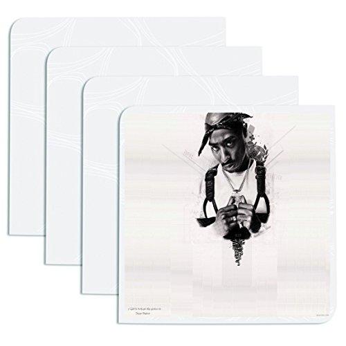 Tupac Shakur schwarz und weiß schwarz Bandana Digital Pencil Sketch Hip Hop Rap 4Drink Untersetzer Esstisch Ware Stilvolle Küche Set ()
