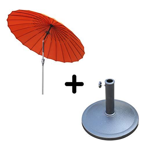 Angel Living 250cm Sonneschirm Sonnenschutz neigbar Rostfrei aus Aluminium, Stahl und Polyester (Terrakotta mit Sonnenschirm Basis) -