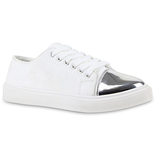 Damen Sneakers Low Metallic Turnschuhe Schnürer Black & White Weiß