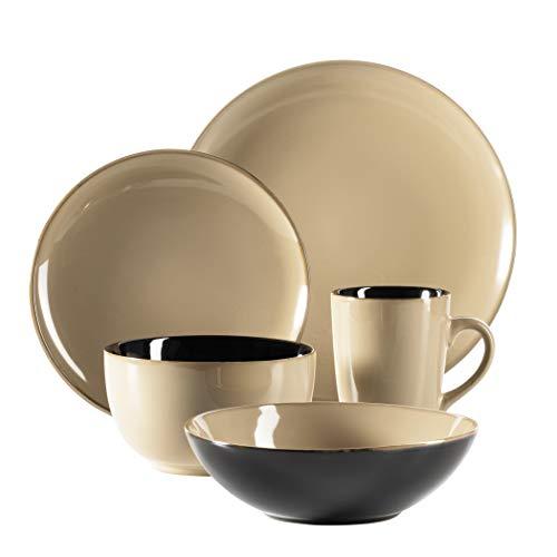 MÄSER 931454 Serie Scuro, Geschirr-Set aus Keramik für 1 Person, 5-teiliges Kombiservice, modern und mediterran, Beige, Steinzeug