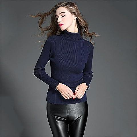 WZH Aderente dolcevita filante cimosa manica lunga da Donna Pullover maglione . navy blue . l