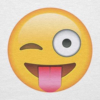 Texlab–Tongue Out Emoji–sacchetto di stoffa Bianco