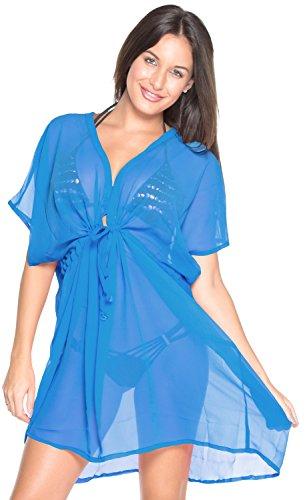La Leela bloße Chiffon feste plus und eine Größe vertuschen Kaftan dodger blau Badebekleidung Strand-Bikini-Vertuschung Tunika StrabdKleid kaftan Cover up (Dodger Stoff)