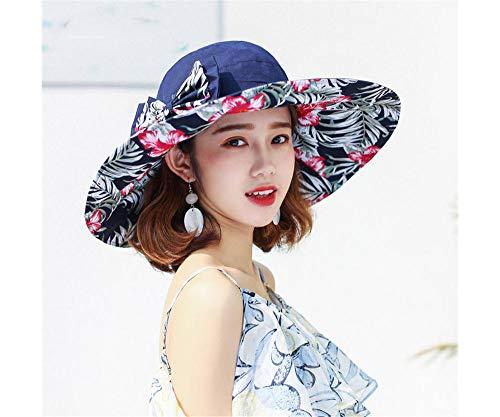 Faltbare Strandmütze Doppelseitiger kühler Hut des Damensommersonnenschutz-Hut-Sonnenschutzes kann Faltbare Reise UPF50 +, 58-60cm, Blau a tragen (Am Ziel Kühler)