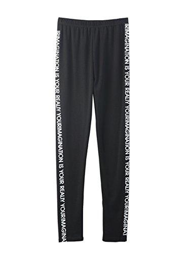 ELLAZHU Damen Fashion Gedruckt Elastischer Bund Schwarz Leggings Hose GY1372