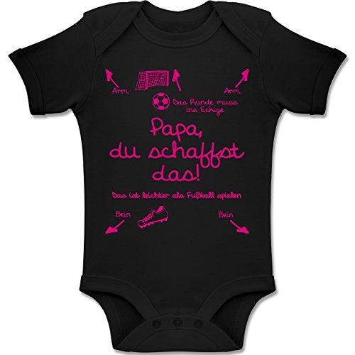Shirtracer Strampler Motive - Papa du schaffst das Fußball Mädchen - 6-12 Monate - Schwarz - BZ10 - Baby Body Kurzarm Jungen Mädchen