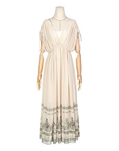 Artka Damen Vintage V-Ausschnitt Empire Taille Gedruckt Maxi Chiffon Kleid la13965C Cremefarben