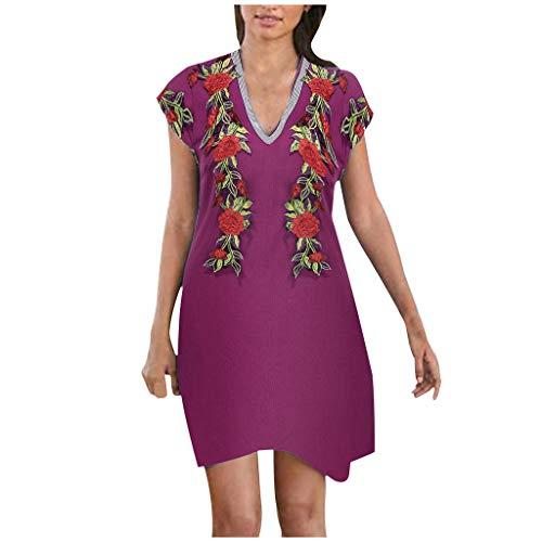 BHYDRY Mode Frauen Sommer Freizeit Kurzarm Applique V-Ausschnitt langes Kleid (Large,Lila) - Batik-applique