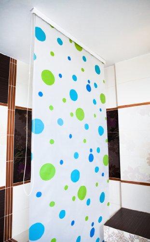 Duschrollo mit Halbkassette grün/blau gepunktet - 140 x 240 cm thumbnail