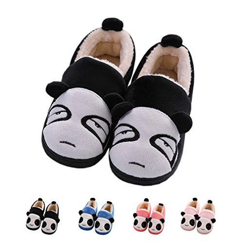 (KVbaby Hausschuhe Mädchen Winter Jungen Weiche Plüsch Pantoffeln Wärme Baumwoll Cartoon Hausschuhe Leicht Rutschfeste Slippers für Herren Damen Schwarz-1 23-24 EU)