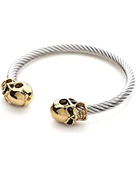 2LIVEfor Armreif Silber Gold Armreif Totenkopf Vergoldet Reif aus Edelstahl Armband Schädel Armreif Gedreht Breit...