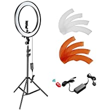 Neewer 18-inch Outer Dimmable SMD LED Ring Light Kit with Light Stand Bluetooth Receiver Smartphone Holder Hot Shoe Adapter for Photo Studio YouTube Video Shooting(No Carry Bag)