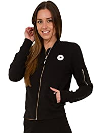 Converse Women's All Star Chest Logo AW17 Zip Front Sweat Bomber Black - Various Sizes