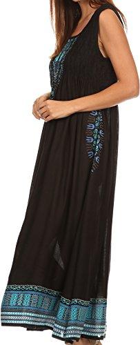 Sakkas Hoola Long Tall Ganzkörperansicht Tribal Printed Batik Tank Top  ärmelloses Kleid Schwarz