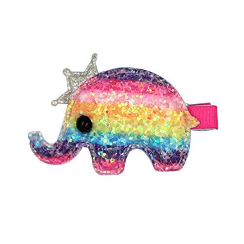 Regenbogen Elefant Baby Kostüm - Kimruida Kid Mädchen Regenbogen Elefant Haarspange 1 Stück Bunte Haarnadel Prinzessin Haarspange Krone