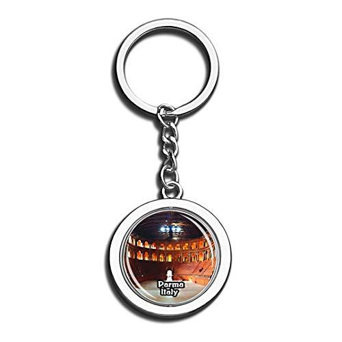 r Italien 3D Kristall Kreative Schlüsselbund Spinning Round Edelstahl Schlüsselanhänger Ring Travel City Souvenir Collection ()