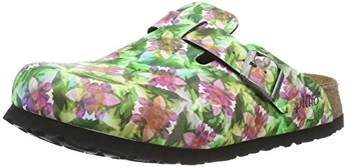 Birkenstock Damen Boston Birko-Flor Softfootbed Clogs, Mehrfarbig (Caleidoscope Green), 40 EU