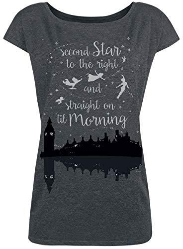 Peter PAN Neverland - Second Star T-Shirt grau meliert L - Pan Shirt Disney Peter