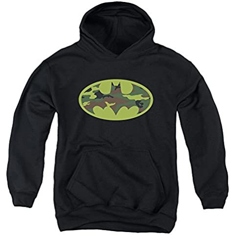 Trevco Batman-Camo Logo - Youth Pull-Over Hoodie - Black, Medium by Trevco