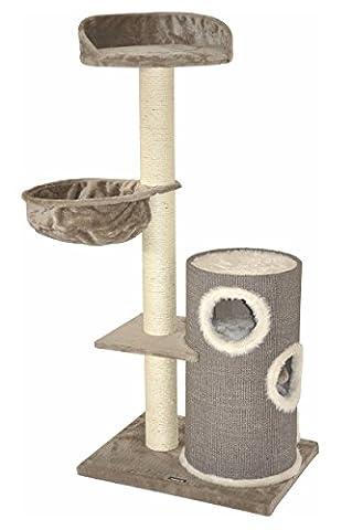 """nanook """"Dorado"""" - Kratzbaum mit Kratztonne - große Liegeflächen, Ø 11 cm Sisalstämme - Farbe: grau"""