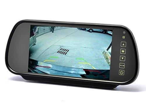 YMPA Rückfahrsystem Einparkhilfe Rückfahrkamera Nummernschild Kennzeichen Halterung 17,8 cm 7 Zoll Inch Monitor Rückspiegel Innenspiegel Spiegel 6 Meter Kabel Nachtsicht IR Farbe Auto KFZ