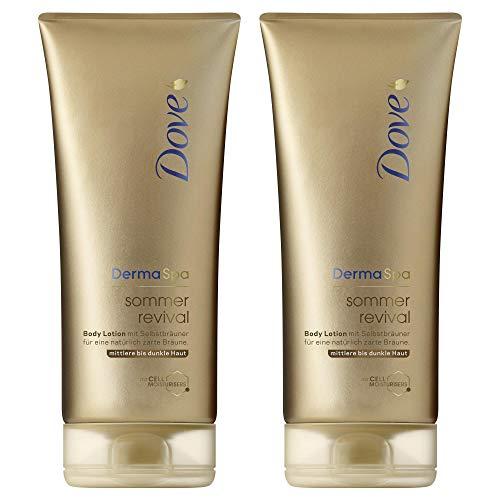 Dove DermaSpa Body Lotion für mittlere bis dunkle Hauttypen Sommer Revival mit Cell-Moisturisers, 2er Pack (2 x 200 ml)