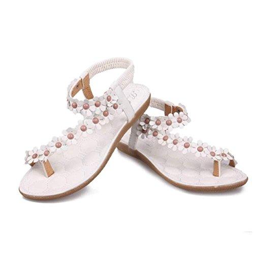 LHWY Damen Bohemia Sweet Beaded Sandalen Clip Toe Sandalen Strand Schuhe Weiß