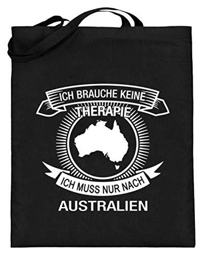 Ich muss nach Australien Ich brauche keine Therapie Lustig Geschenk Freunde - Jutebeutel (mit langen Henkeln) -38cm-42cm-Schwarz
