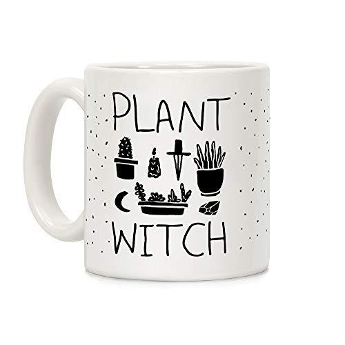 LookHUMAN Kaffeebecher, Motiv Pflanze, 325 ml, Keramik, Weiß