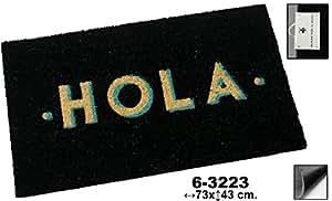DonRegaloWeb - Paillasson fibres de noix de coco décoré avec le mot bonjour en noir et autres.