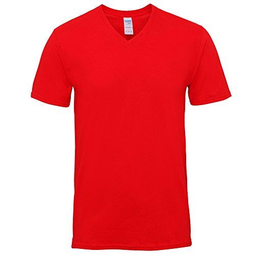 Gildan Herren Premium T-Shirt mit V-Ausschnitt, kurzärmlig Rot