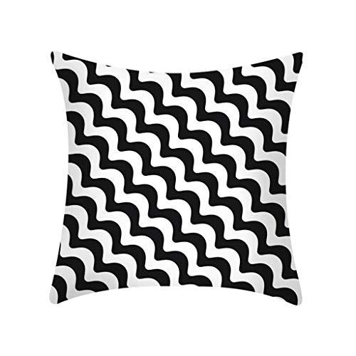 Fghyh Wurfkissen Geometrischer abstrakter dekorativer Polyester-Schwarzweiss-Kissenbezug 45cmx45cm(X) -