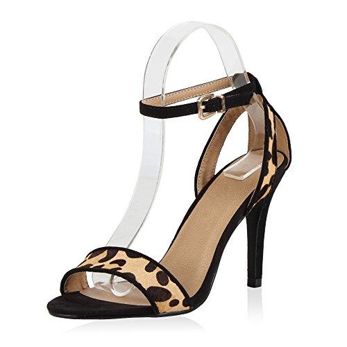 Japado Damen Riemchensandaletten Lack Sandaletten Glitzer Stilettos Party Schuhe Abendschuhe Abschlussball Hochzeit Schwarz Leopard